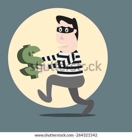 Thief running stealing money - stock vector