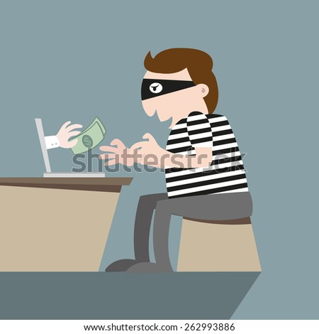 Thief stealing money by computer on-line - stock vector