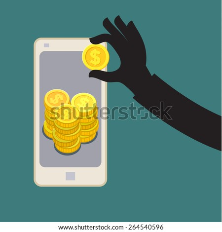 Thief stealing money by reaching his hand picking up dollar from screen of smart phone. - stock vector