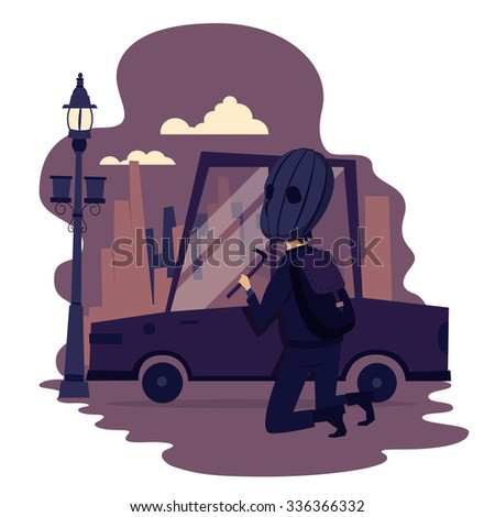 Thief steals car - Illustration - stock vector