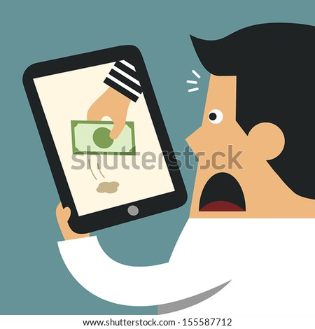 Thief Through the Internet, Business concept - stock vector