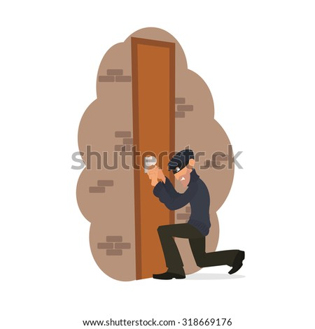 thief tries to break down the door. a thief opens the lock. vector illustration in a flat style. Thief trying to get inside. Thief uses a skeleton key.