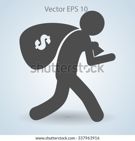 Thief with bag of money vector illustration - stock vector