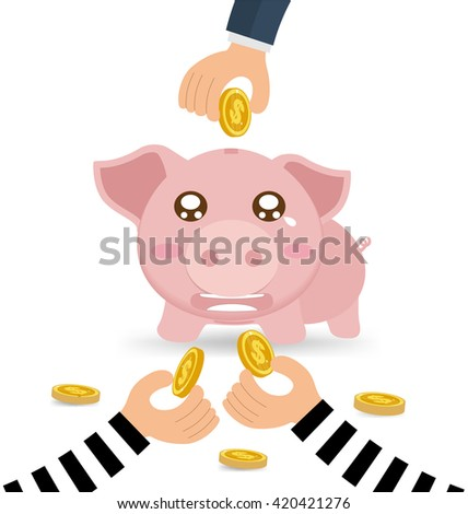 Thieves Hand Stealing Money Coin From Piggy Bank Of Businessman - stock vector