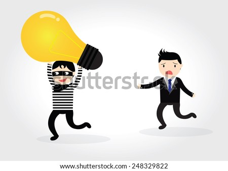 Thieves robbed idea from businessman - stock vector
