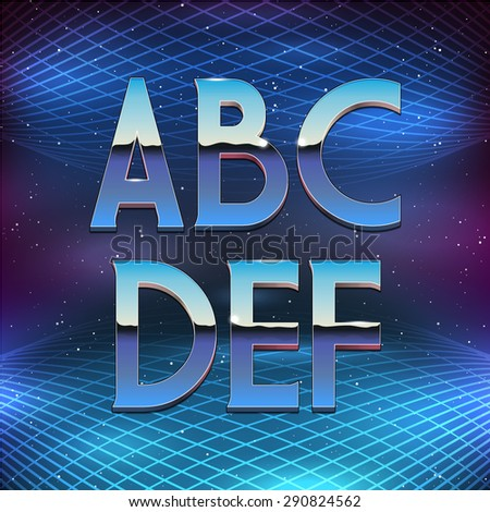Thin Chrome Alphabet in 80s Retro Futurism style. Vector font from A to F - stock vector