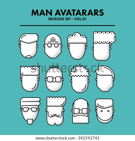 Thin Flat Line Man Avatars Icons - Faceless Set 01. Infographic or webdesign graphic resource. Profile picture. Vector Illustration