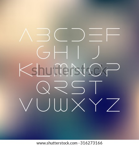 Thin font. Futuristic font. Cosmic Font. Vector alphabet set. Elegant light font. Minimal. Latin alphabet letters on a blurred vintage background. Hipster font, typeface, typography, typewriter. - stock vector