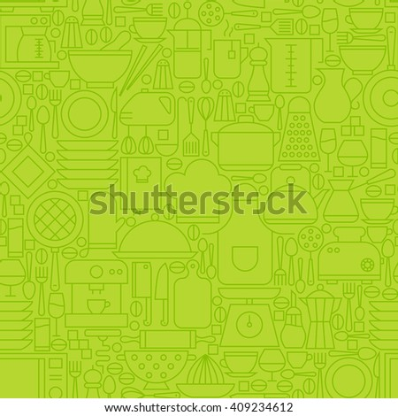 Thin Green Kitchen Appliances and Cooking Line Seamless Pattern. Vector  Website Design and Seamless Background