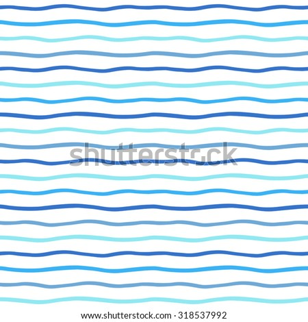 Thin hand drawn wavy stripes seamless vector pattern. Waves backdrop. Shades of blue and white sea striped abstract background. Wavy uneven streaks.  - stock vector