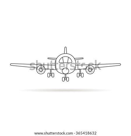 thin line airplane icon with shadow. concept of voyage, pilot, trip, cockpit, vehicle, airbus, cruise, airfare. isolated on white background. linear style trend modern logo design vector illustration - stock vector