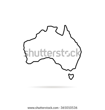 thin line australia map with shadow. concept of land edge, delineation, country outlines, terrain. isolated on white background. flat style trend modern logo design vector illustration - stock vector