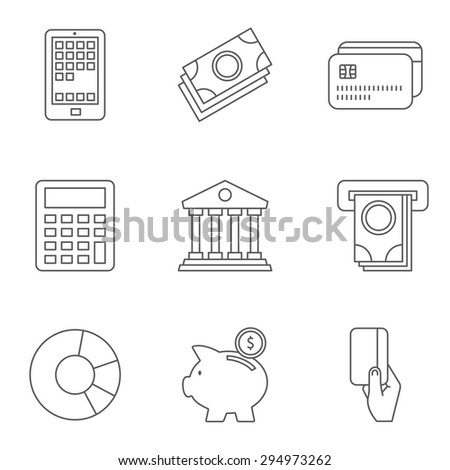 Thin Line Banking and Finance Web Icons Set