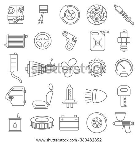 Thin line car service vector icon set. - stock vector