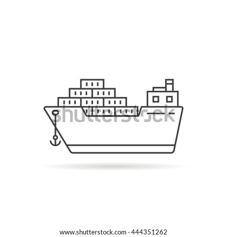 thin line cargo ship with shadow. concept of seaport emblem, voyage, shipbuilding, trip, anchor. flat outline style trend modern logotype template design art vector illustration on white background - stock vector
