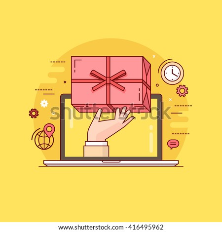 Thin line colorful vector illustration concept for gift delivery service, e-commerce, online shopping isolated on bright background - stock vector
