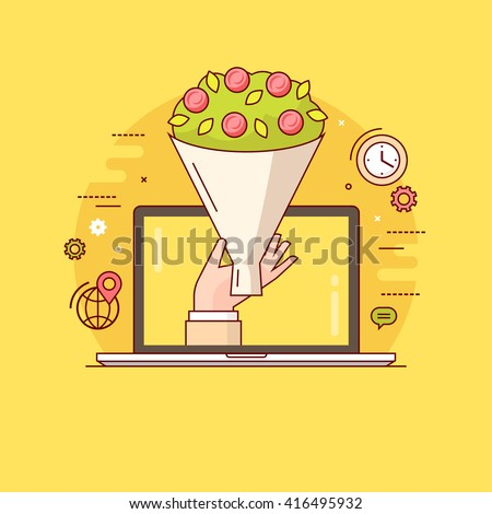Thin line colorful vector illustration concept for online ordering and fast delivery of flowers isolated on bright background