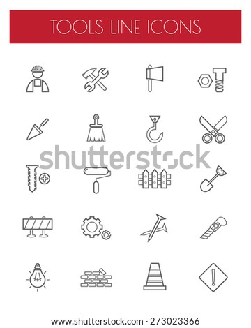 Thin Line Construction tools Icons set.vector. - stock vector