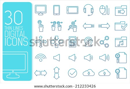 thin line digital gadget set icons concept. Vector illustration design - stock vector