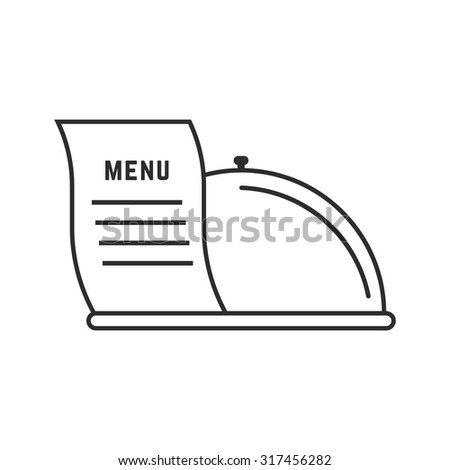 thin line dish and menu icon. concept of flatware, culinary, cooking, haute cuisine, restaurant service. isolated on white background. flat style trend modern logotype design vector illustration - stock vector