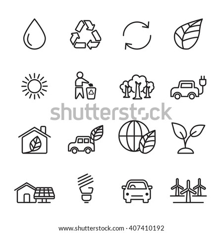 thin line ecology icon set 5, vector eps10 - stock vector