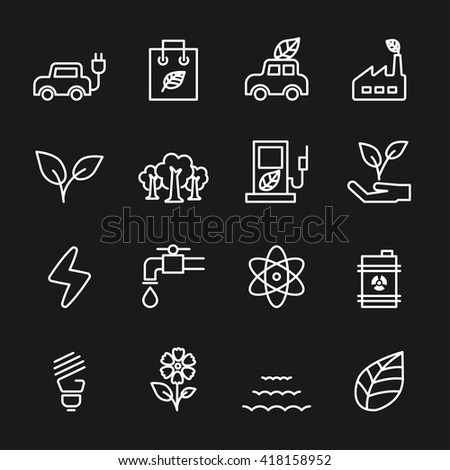 thin line ecology icon set, vector eps10. - stock vector