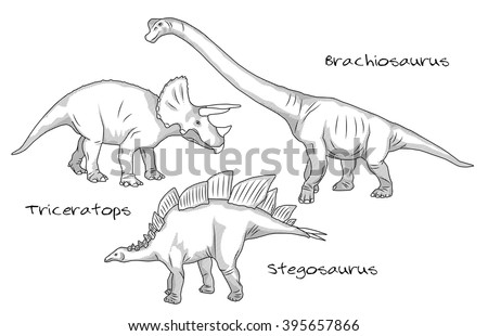 Thin line engraving style illustrations, various kinds of prehistoric dinosaurs, it includes brachiosaurus, stegosaurus and triceratops. - stock vector