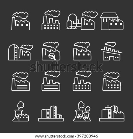 thin line factory plant building icon set, vector eps10.