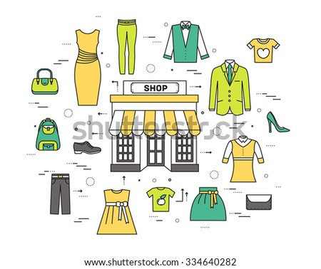 Thin line fashion clothing modern illustration concept. Infographicthings that you can buy in the boutique. Icons on isolated background. Flat vector template design for web and mobile application - stock vector