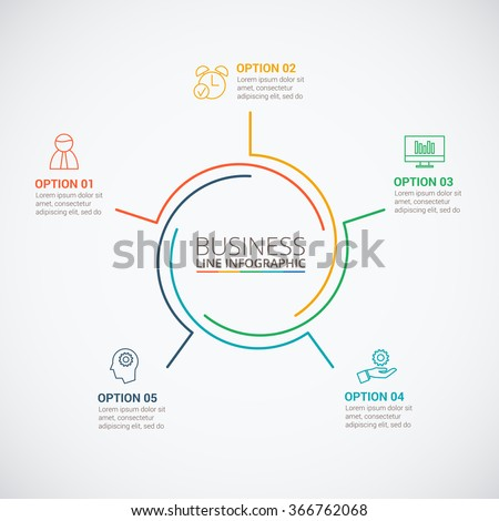 Thin line flat circle infographic template image vectorielle de thin line flat circle for infographic template for cycle diagram graph presentation and ccuart Images