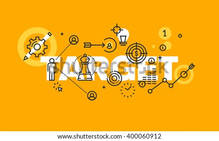 Thin line flat design banner for TARGET web page, business plan, company strategy, business success, market research, marketing plan, consulting. Modern vector illustration concept for website banners - stock vector