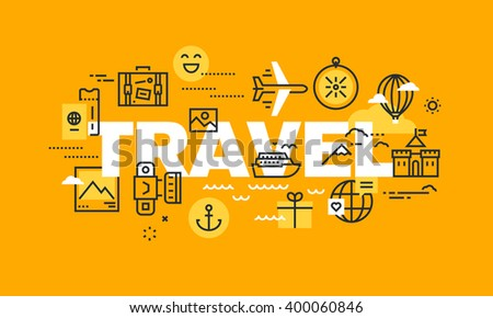 Thin line flat design banner for TRAVEL web page, holiday trip planning, travel destination, tour organization. Modern vector illustration concept of word TRAVEL for website and mobile website banners