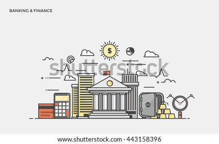 Thin line flat design banner of Banking and Finance for website and mobile website, easy to use and highly customizable. Modern vector illustration concept, isolated on white background. - stock vector