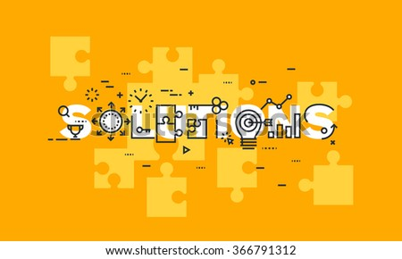 Thin line flat design banner of business solutions.  Modern vector illustration concept of word solutions for website and mobile website banners, easy to edit, customize and resize. - stock vector