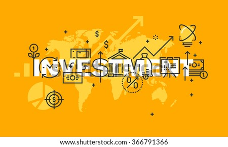 Thin line flat design banner of finance and banking.  Modern vector illustration concept of word investment for website and mobile website banners, easy to edit, customize and resize. - stock vector