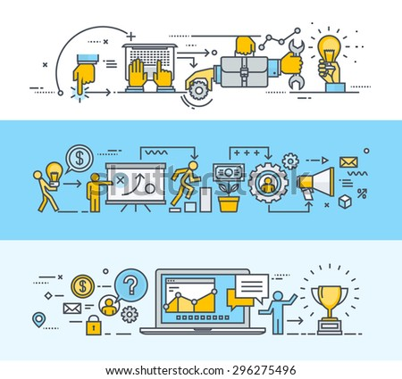 Thin line flat design banners for teamwork, business and marketing plan process, consulting, project management, client communication. Vector illustrations for web banners and promotional materials. - stock vector