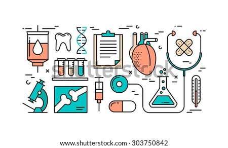 Thin line flat design concept of health care and medicine, vector illustration - stock vector