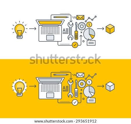 Thin line flat design concept on the subject of product development, from idea to realization. Concept for website banners and promotional materials. - stock vector