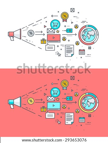 Thin line flat design concept on the theme of digital marketing. Concept for website banners and promotional materials. - stock vector