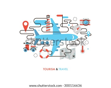 Thin line flat design of airplane travelling, commercial air plane flight journey, tourist vacation trip on airline transportation. Modern vector illustration concept, isolated on white background. - stock vector
