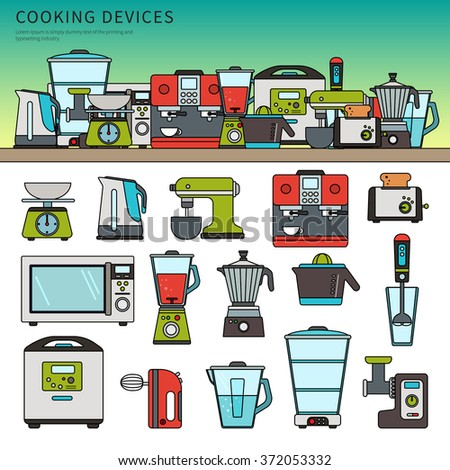 Thin line flat design of cooking devices. Different kitchen machines on the wooden table, devices, toaster, coffee machine, microwave oven, blender, meat-chopper isolated on white background - stock vector