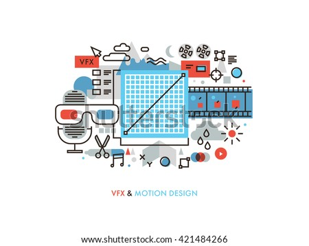 Thin line flat design of creating and editing visual effects, audio video production studio, film image color correction, cinema making. Modern vector illustration concept isolated on white background - stock vector