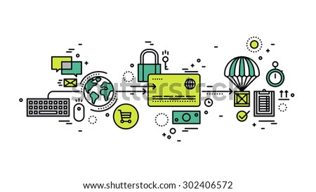Thin line flat design of credit card secure payment of purchasing goods in online store, global e-commerce paying methods in web shop. Modern vector illustration concept, isolated on white background. - stock vector