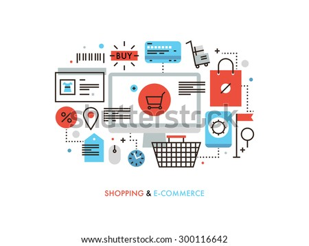 Thin line flat design of e-commerce website, purchasing goods via internet, online shopping cart with products, solution for customer. Modern vector illustration concept, isolated on white background. - stock vector