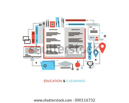 Thin line flat design of e-learning education process, online books for learning applied science, internet library and tutorial study. Modern vector illustration concept, isolated on white background. - stock vector