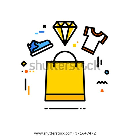 Thin line flat design of fashion shopping. A shopping bag with a shoe, a t-shirt and a diamond - stock vector