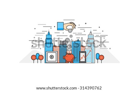 Thin line flat design of Investment. Modern vector illustration concept, isolated on white background - stock vector