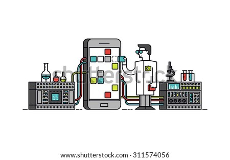 Thin line flat design of lab scientist holding mobile app store solution, smartphone application analysis and study, technical service. Modern vector illustration concept, isolated on white background - stock vector