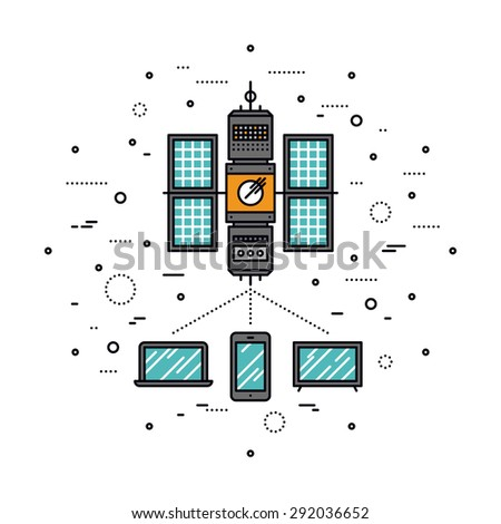 Thin line flat design of LTE cellular transmission based on satellite communication system, global network service for mobile devices. Modern vector illustration concept, isolated on white background. - stock vector