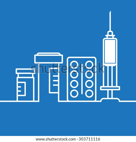Thin line flat design of medication supplies, aspirin and painkiller pills, medical tools, healthcare equipment for health treatment - stock vector